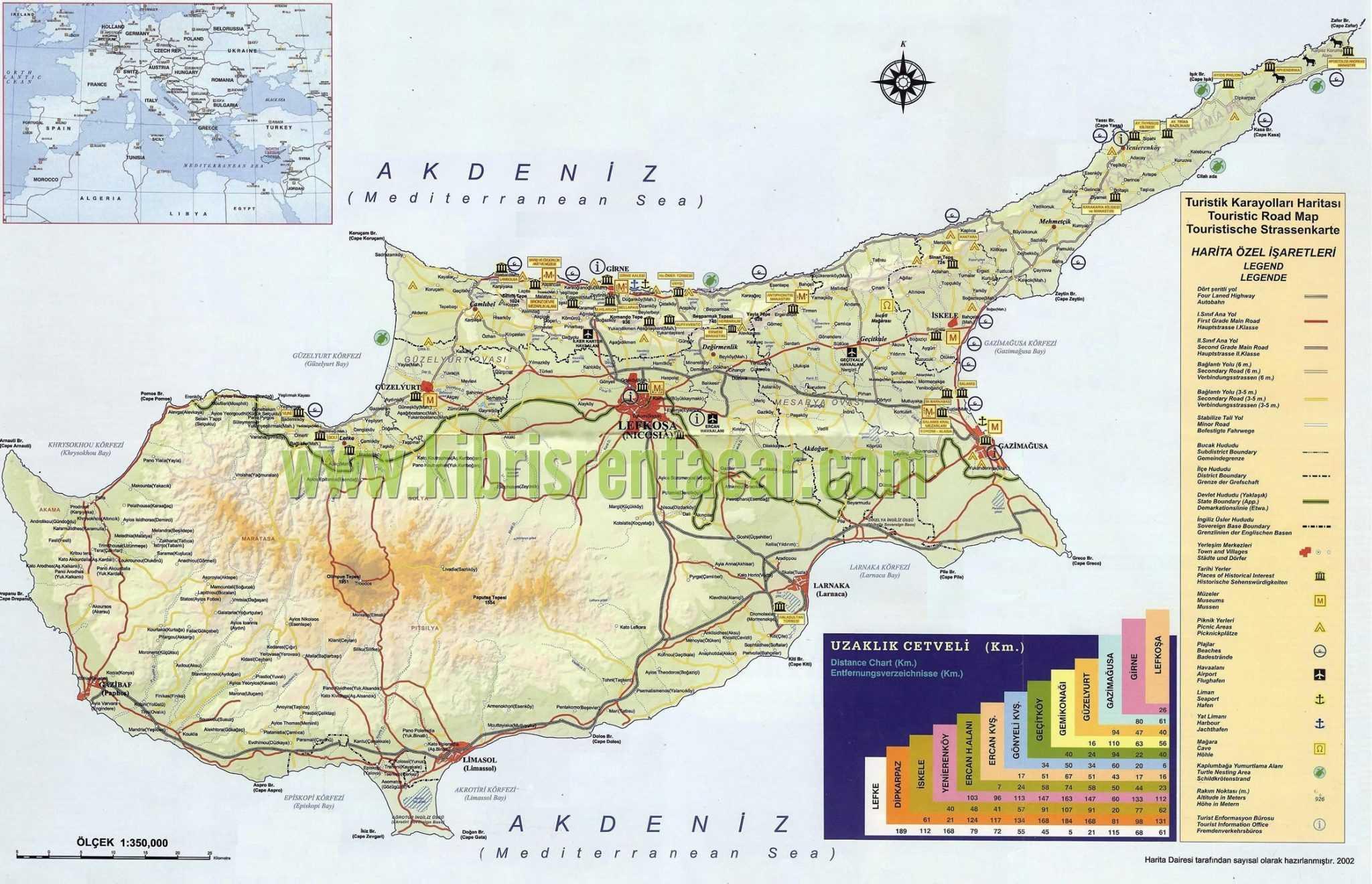 kıbrıs haritasi Kıbrıs'daki Sınır Kapıları ve Rum Tarafına Geçiş