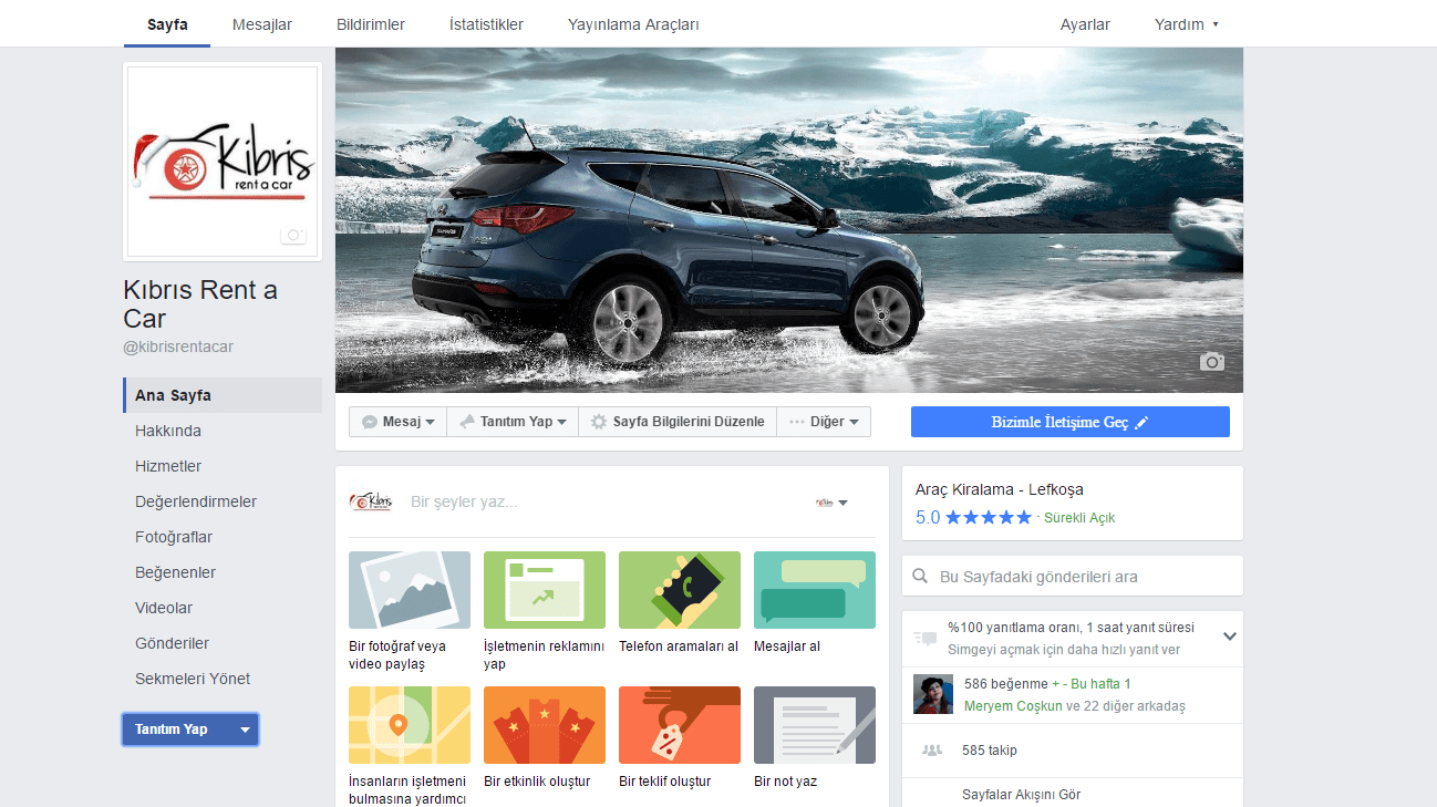 Facebook'ta Kıbrıs Rent a Car