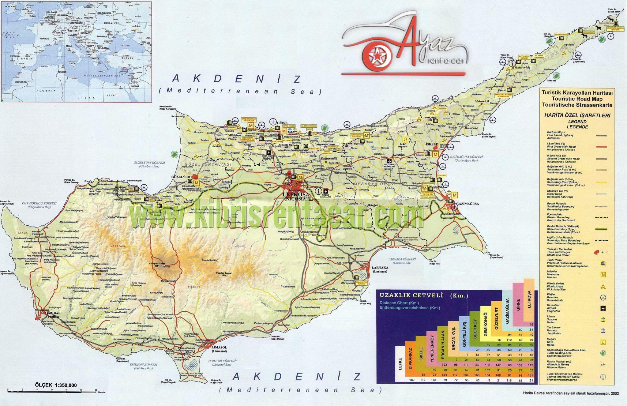 kibris haritasi kibrisrentacar Kıbrıs Yol Haritası